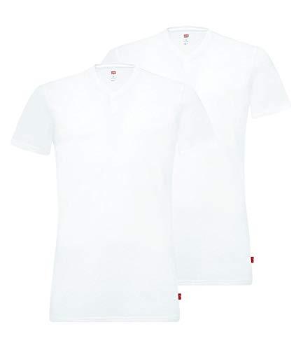 Levi's Herren V Neck T-Shirts Stretch Cotton 905056001 2er Pack, Farbe:Weiß, Menge:2er Pack (1x 2er), Größe:L, Artikel:-300 White