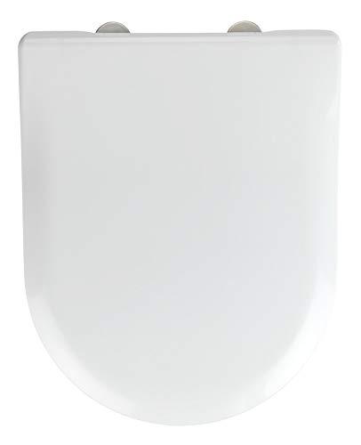 WENKO WC-Sitz Exclusive Nr. 5, Toilettensitz mit Absenkautomatik, passend für Villeroy & Boch Subway 2.0 Slim und handelsübliche Keramiken, WC-Deckel aus antibakteriellem Duroplast, 37 x 46 cm, Weiß