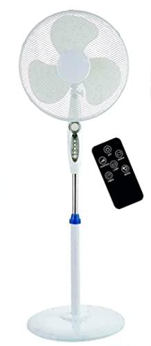 16 'Pedestal oscilante de pie de enfriamiento 3 ventilador de velocidad de aire con control remoto y temporizador (blanco)