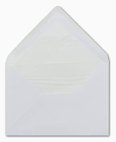 25 DIN C5 Briefumschläge Weiß gefüttert mit weißem Seidenpapier 16,2 x 22,9 cm 90 g/m² Nassklebung Post-Umschläge ohne Fenster - Glüxx-Agent