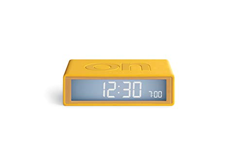 Lexon Flip Plus Travel Reversible LCD Alarm Clock Radio Controlled - Yellow