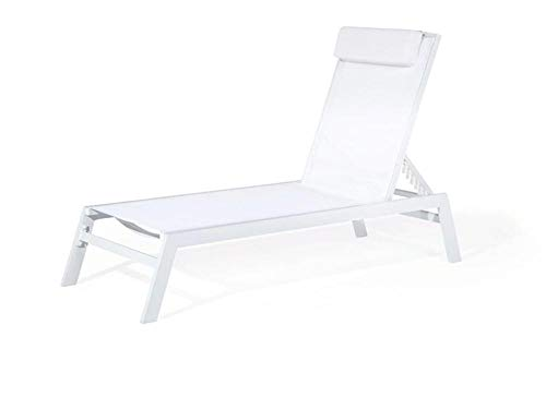 ALL-JingHong Sonnenliege verstellbar Gartenliege Aluminium Textilbespannung Weiß JH-484
