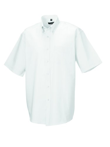 Z933 Kurzärmeliges Oxford Hemd Oberhemd Herrenhemd 4XL / 49/50,White
