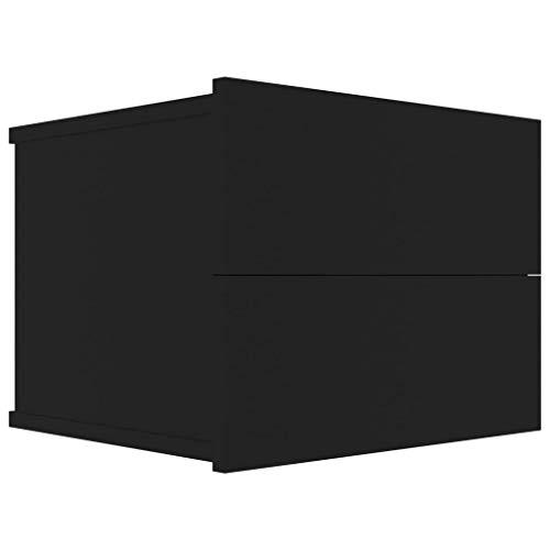 vidaXL Nachttisch 2 Schubladen Hängend Schwebend Nachtschrank Nachtkommode Nachtkonsole Wandschublade Wandregal Schwarz 40x30x30cm Spanplatte