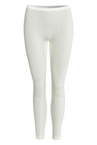 con-ta Lange Hose, Leggings für Damen, Bequeme Unterbekleidung aus Wolle und Modal, weiche Unterwäsche in Feinstrick, in Wollweiß, Größe: 40