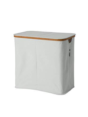 ABOUT YOU Cesto para la ropa 'Sorter' con dos compartimentos separados para clasificar la colada, plegable y espaciosa cesta para la colada, de bambú y tela de lona, para almacenamiento (gris claro)