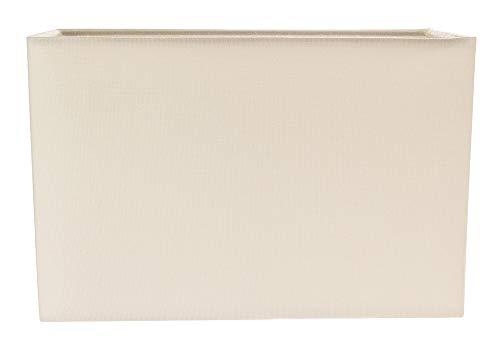 Pantalla de lámpara rectangular de tela de lino color crema suave contemporánea y elegante por Happy Homewares