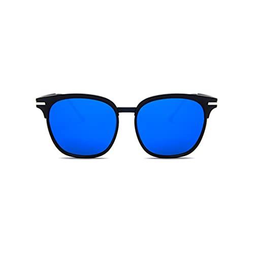 Tree-es-Life Gafas de Sol de Moda Coreanas Gafas de Tendencia de Personalidad Gafas de Sol Retro para Hombres y Mujeres en Europa y América Negro-Azul
