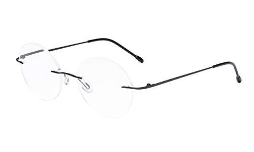 Eyekepper Rahmenlos Brille Frau - Runden Randlos Brillen Männer Schwarz
