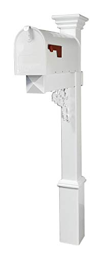 4Ever Products The Hoover Mailbox with White Vinyl Post Included Complete Decorative Curbside Mailbox System with Classic Traditional Style (White Mailbox)
