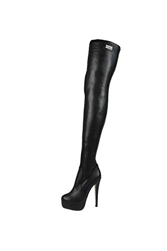 AROLLO Thigh High Stiefel Stretch Black (37 EU, Schwarz)