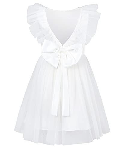 AIDEAONE Prinzessinen Kleid Mädchen Schöne Kleider Fasching Kleider für Sommer Kinderkleidung Partykleid Weiß Kinder Brautkleider 2-3 Jahre (90)