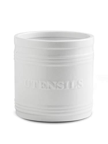 Porcelain Utensil Crock/Holder Large Size for Kitchen Storage White