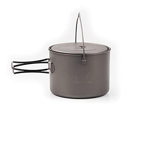 DAGCOT Utensilios para Hoguera Colgando Titanio Olla 1600ml Ultraligero Utensilios de Cocina Plegable Mango pote al Aire Libre acampado de Utensilios de Cocina Mochileros de Utensilios de Cocina ⭐