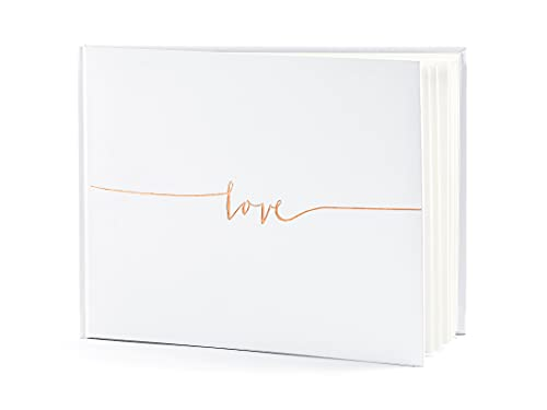 KWAP59 Libro per firme Bianco Love Oro Rosa Taglia Unica
