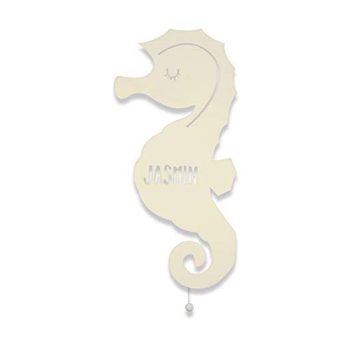 Nachtlicht Sammy das Seepferdchen Kinderzimmer-Lampe/Tauf-Geschenk oder zur Geburt/Personalisiert mit Wunsch-Name für Mädchen oder Jungen Schlummerleuchte Babyzimmer Stilleuchte [Energieklasse A++]