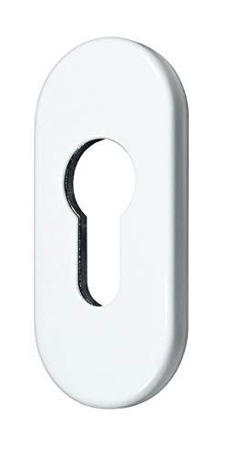 SN-TEC Schutzrosette/Schieberosette / Zylinderschutz oval 7mm Weiß RAL 9016