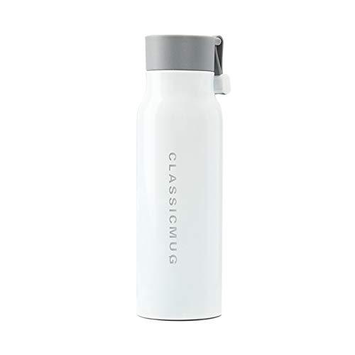 N&A Wasserflasche Vakuumisolierte Flasche 350 ml Edelstahl doppelwandig und BPA-frei - 12 Stunden heiße Getränke Wasser Kaffee Milch weiß Thermalflasche Reiseflasche