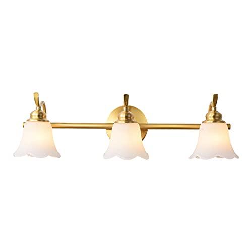 SAFGH Fuente de luz 7W E14 Iluminación Interior, lámpara de Pared de baño Impermeable, latón + Vidrio en Forma de pétalo, se Pueden Cambiar Tres Colores de luz, Adecuado para Dormitorio/tocador
