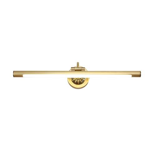 CWT Espejos Faros Simple A Prueba de agua Maquillaje Espejo Tocador Cuarto de baño Moderno Acrílico Espejo Gabinete Luz Lampara de baño (Color : Brass)