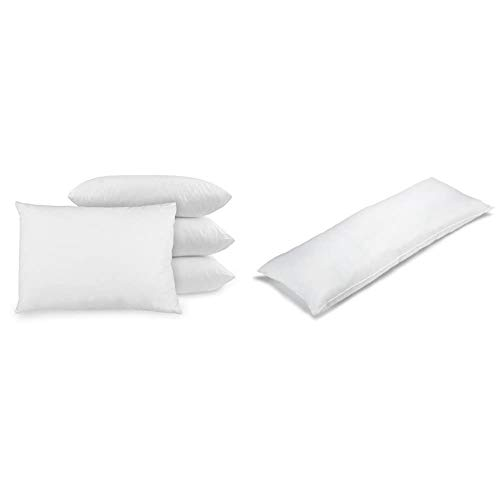 BioPEDIC 4-Pack Bed Pillows with Built-in Ultra-Fresh Anti-Odor Technology, Standard Size, White & Premium SofLOFT 20-by-54 Inch Body Pillow, White