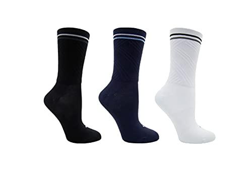 Cycling Compression Socks - Dark Blue, White, Black - Stripes