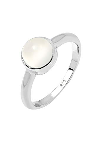 Elli Ring Damen Elegant mit Mondstein in 925 Sterling Silber