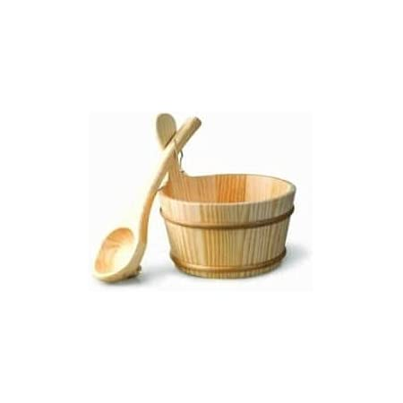 Desineo Kit Seau et louche en Bois pour Sauna 4 litres