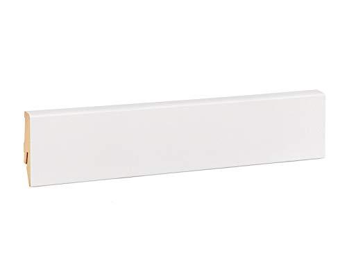 Vorteilspack Sockelleiste Mega – Weiß folierte MDF Fußbodenleiste KGM – Maße: 2500 x 17 x 58 mm – 10 Stück