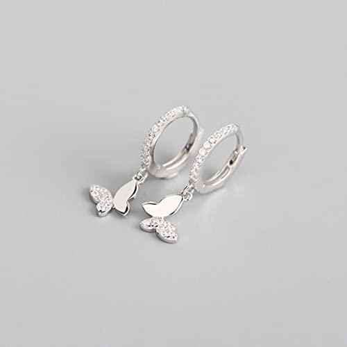 DOOLY Pendientes de aro de Mariposa de Plata de Ley 925 para Mujer,Regalos de joyería de Plata y OroBrillante