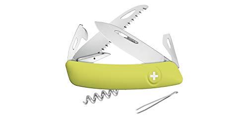 Navaja multiusos suiza Swiza D05VP con hoja de acero 440C de 7,5 cm, linerlock y empuñadura de color amarillo. Doce usos diferentes + Portabotellas de regalo