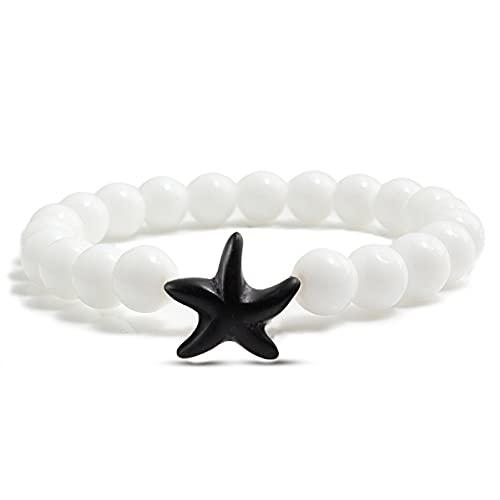 Aniversario Colgante de estrella de mar, pulsera de cuentas naturales, piedra de Lava negra, abalorios redondos de la suerte para hombres, brazaletes de elasticidad, regalo de joyería para parejas