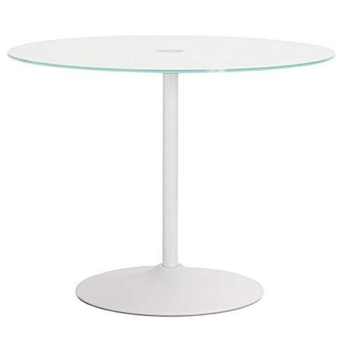 KoKoon DT00340WH BLOMA Table à diner Verre Blanc 100 x 100 x 75 cm
