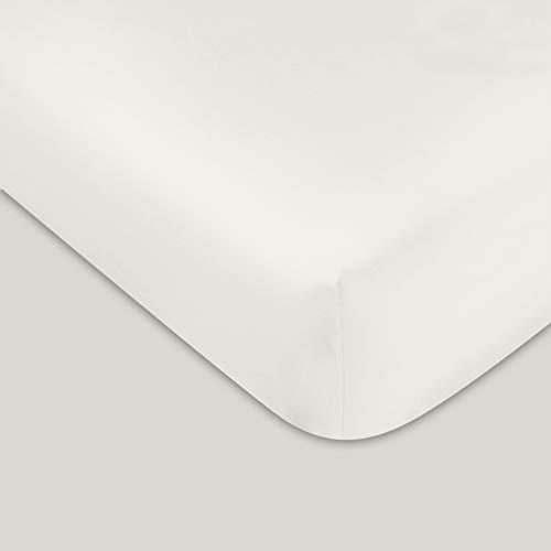 400 TC GOTS Certified 100% Organic Cotton Queen Sateen Weave Fitted Sheet - Fits Mattress Up to 16