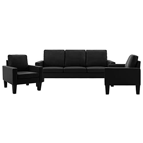 Gawany Sofá de 3 Piezas de Cuero sintético Negro Conjunto de sofás Chaise Longue