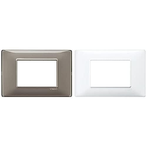 VIMAR Placca 3 M, Reflex Cenere & 14653.01 Placca 3 Moduli, Bianco