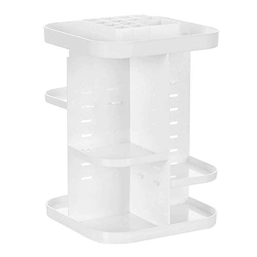 Feibrand 360 Grad Drehbar Make up Organizer, Acryl Verstellbar Multifunktions Kosmetik Aufbewahrungsbox Display Ständer für Schlafzimmer, Dresser, Badezimmer - Weiß