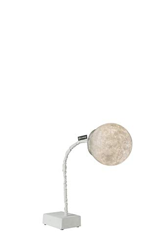 In-es.artdesign IN-ES060013PB MICRO T LUNA Lampe de Table, Fontes, Acier, Nylon, Nebulite, Blanc