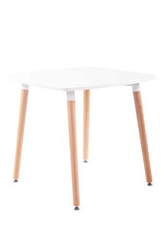 CLP Tavolo Quadrato da Cucina Viborg in Legno I Tavolino Pranzo Moderno Design in MDF E Legno di Faggio, Colore:Bianco, Dimensione:80 cm