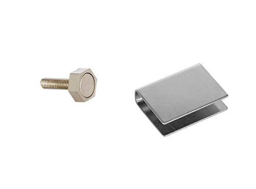 eliga Türmagnet 15 mm mit U-Haftblech für Glastüren 10 mm