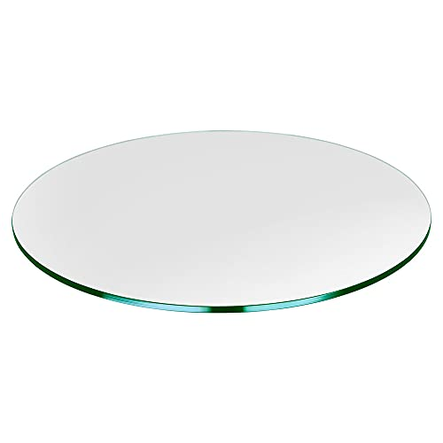 """TroySys - 3/8"""" Thick Round Circle Glass Table Top (28"""")   USA Premier Glass Maker   High Strength Tempered Glass with Pencil Polish Edge   Durable Lightweight Glass Table or Topper"""