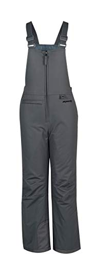 SkiGear Kids Insulated Snow Bib Overalls, Charcoal, Small Regular