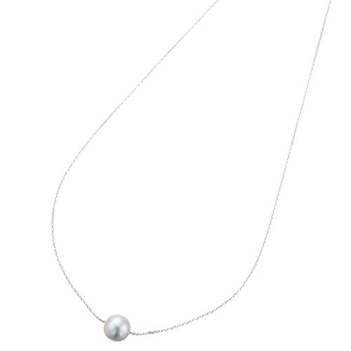 [アクセサリーショップピエナ] あこや真珠 アコヤ真珠 シルバー925製 8mm 8ミリ パール 結婚式 パーティ あこや貝 シンプル かわいい 小豆 あずき 40cm 40センチ 大きめ 細め ネックレス レディース コバルト