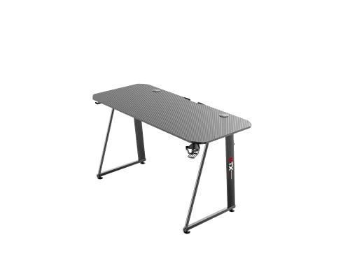 Tavolo scrivania da Gaming Desk Postazione Computer Carbonio porta Cuffie Portabicchiere Laptop da Gioco Gestione Cavi Ergonomica Gamer (M)