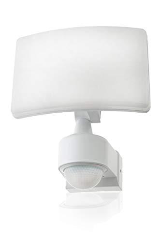 HUBER LED Strahler mit Bewegungsmelder 360° 20W, 1800lm - sehr sensibel durch 3 Sensoren und Matrixlinsen, inkl Unterkriechschutz und Bereichsbegrenzung, Wand und Eckmontage, IP65, weiß