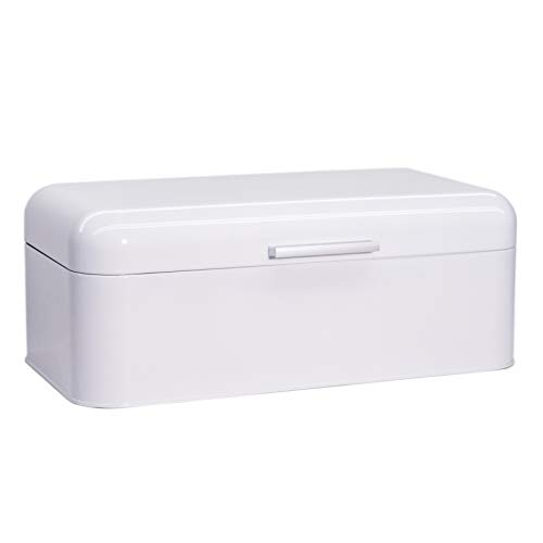 Large Glossy White Bread Box - Extra Large Storage Container for Loaves, Bagels, Chips & More: 16.5' x 8.9' x 6.5'