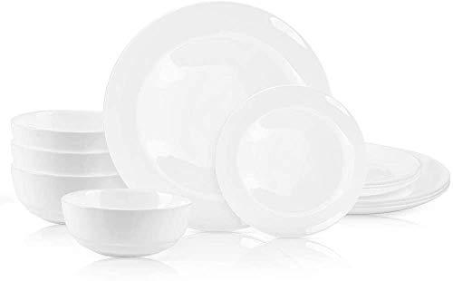 "DANMERS 12-Piece Dinnerware Set White Dinner Sets Service for 4, 10.5"" Dinners Plates, 7.5"" Bread Plates and 5.5"" Cereal Bowls Set Break and Crack Resistant"
