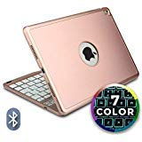 Cooper Notekee F8S Keyboard Case for iPad Air 2 iPad Pro 9.7 | Wireless Clamshell Cover 60 Hour Battery 7 Color LED Backlight  Rose Gold