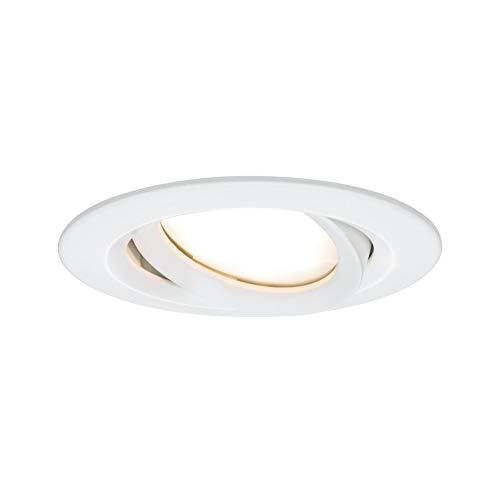 Paulmann Nova Plus 93681 Spot LED encastrable rond et orientable avec 1 ampoule 6,8 W IP65 à intensité variable Blanc mat 2700 K