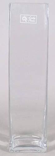 INNA-Glas Set 2 x Bodenvase Leon, Quader - viereckig, klar, 10x10x40cm - Standvase - Deko Vase